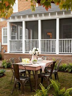 This rustic wooden table and industrial-style chairs juxtapose perfectly for a unique look: http://www.bhg.com/home-improvement/porch/outdoor-rooms/casual-porch-dining/?socsrc=bhgpin081314industrialtouch&page=3