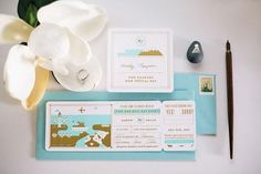 Huilin + Martin's Gold Foil Boarding Pass Wedding Invitations