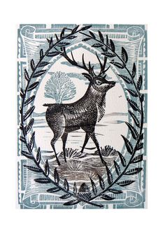 The Stag Linocut Print