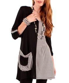Look at this #zulilyfind! Black & White Stripe Two-Tone Pocket Tunic - Women #zulilyfinds