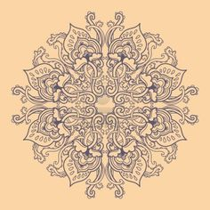 Ornamental round floral lace pattern. kaleidoscopic floral pattern, mandala.  Stock Photo