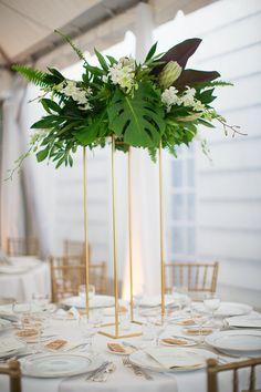 altarpiece idea - lots of texture Tropical Wedding Centerpieces, Floral Centerpieces, Floral Arrangements, Wedding Decorations, Palm Wedding, Floral Wedding, Our Wedding, Tropical Bridal Showers, Flower Bouquet Wedding