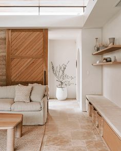 Home Living Room, Living Room Decor, Living Spaces, Spa Like Living Room Ideas, Tile In Living Room, Earthy Living Room, Bedroom Decor, Barn Living, Decorating Bedrooms