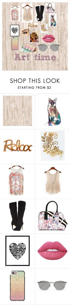 """""""art time"""" by minions4ever123 on Polyvore featuring GUESS, Marc Jacobs, Lime Crime, Casetify and Linda Farrow"""