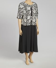 Look what I found on #zulily! Black & Ivory Floral A-Line Dress & Shrug - Plus by Jessica Howard #zulilyfinds