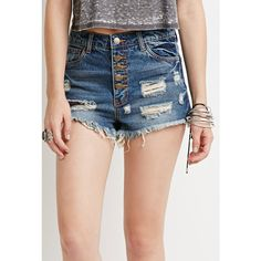 Forever 21 Women's  Distressed Button-Fly Denim Cutoffs ($23) ❤ liked on Polyvore featuring shorts, ripped shorts, destroyed shorts, ripped denim shorts, cut-off and distressed shorts