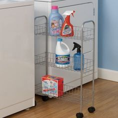 Household Essentials's Slimline Utility Cart turns that unused space into well used space with this storage cart. Its slim design slides easily into just 8 in. Slip it between Laundry room Laundry Cart, Laundry Room Organization, Laundry Storage, Storage Organization, Bathroom Storage, Laundry Closet, Kitchen Storage, Laundry Basket, Organized Laundry Rooms