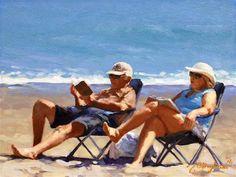 "Daily Paintworks - ""Beach Couple Series-5"" - Original Fine Art for Sale - © Joanna Bingham"