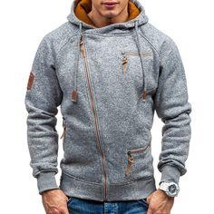 Load image into Gallery viewer, Men's Fashion Zipper Cotton Drawstring Long Sleeve Casual Hoodies Hoodie Sweatshirts, Zip Hoodie, Streetwear, Moda Fitness, Moda Online, Pulls, Mens Fashion, Latest Fashion, Fashion Trends
