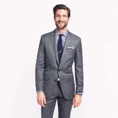 Ludlow suit jacket with double vent in Italian worsted wool. Perhaps a nice coal gray would be best.