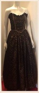 Stunning Vintage 1980s Gold 'Splash' Print Ball Gown Prom Dress Size 8/10
