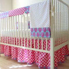 Candy Pink Damask Bumperless Crib Rail cover by babymilanbedding, $240.00