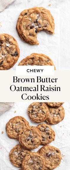 Brown Butter Oatmeal Raisin Cookies - Broma Bakery Best Dessert Recipes, Fun Desserts, Cookie Recipes, Cookie Desserts, Chocolate Desserts, Fall Recipes, Hot Chocolate, Baking Recipes, Best Chicken Strip Recipe