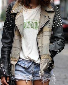 #street style #grunge #rock #denim #studs #fashion #jacket leather