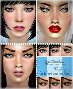 Jenni Sims: Actual Eyes Face Paint 9 Swatches • Sims 4 Downloads