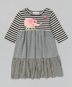 Look at this #zulilyfind! Black & Silver Stripe Elephant Dress - Infant, Toddler & Girls #zulilyfinds