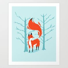 Winter Fox Art Print by Kieran Sheehan - $16.00