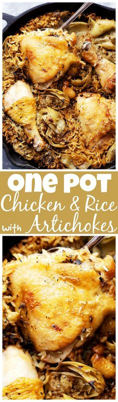 One Pot Chicken and Rice with Artichokes - Classic, delicious comfort food with…