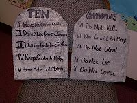 10  Commandments. I have shale for mine, but you can also make a set with kids float/kick swim boards.