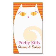 Pretty Kitty paired with my orange striped pattern make this business card design truly unique - perfect for a groomer, pet boutique, pet spa or even as a personal calling card! #cat #white #pink #orange #dot #dots #business #card #floral #stripe #stripes #striped #cats #kitty #feline #pet #pets #animals #animal #kennel #groomer #grooming #supplies #pattern #rich #luxury #salon #spa #boutique #designer #custom #customize #personalize #style #stylish #trendy #cute #professional #beauty ...