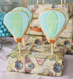 Decorated Cookies at a Hot Air Balloon Birthday Party!  See more party planning ideas at CatchMyParty.com!