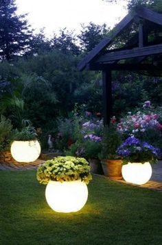 Night yard landscaping with outdoor lights looks romantic, mysterious and spectacular