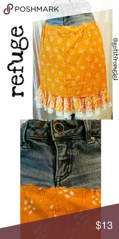 REFUGE Boho Skirt Blue jean and orange  cotton skirt. Size 1. In good pre-owned condition. refuge Skirts Midi