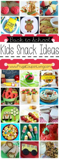 Back to School Snack Ideas for Kids - Healthy, fun, creative and easy. Recipes on Frugal Coupon Living.