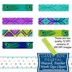 Peacock Feather Washi Tape Clipart by Candy Box Digital. Great for digital scrapbooks, journals and to highlight your pictures on blogs or websites.