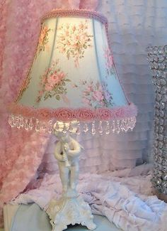 "7 "" Bell LAMP SHADE AQUA w Pink Roses fabric shabby cottage chic beads CUSTOM"