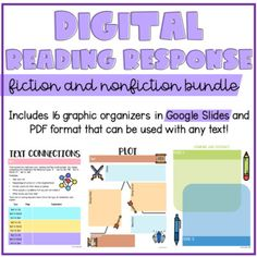 Digital Reading Response Bundle by Cyr's Gears Comprehension Strategies, Reading Strategies, Reading Comprehension, Learning Resources, Teacher Resources, Text To Text Connections, Third Grade Reading, Common Core Reading, Authors Purpose