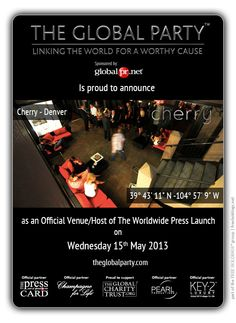 Cherry will host the #Press #Launch on the 15th May 2013.  As a #Journalist, #Blogger or #Media Correspondent to attend please click here: http://www.theglobalparty.com/venues/cherry/