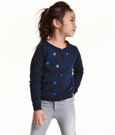 Katoenen vest met pailletten | Donkerblauw/sterren | Kinderen | H&M NL