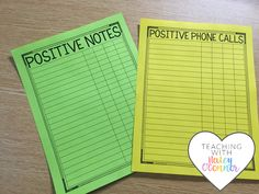 Positive Notes and Phone Calls Home Teacher Tracking Form by Haley OConnor