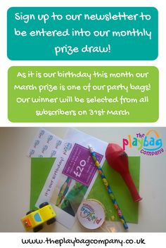 It's our birthday the March!! To celebrate we are giving away one of our party bags with each PlayBag ordered this month!
