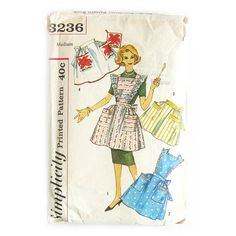 Simplicity 3236 Womens Retro Half or Full Bib Aprons Vintage Sewing Pattern with Applique Transfers Size Small UNUSED Factory Folded Vintage Apron Pattern, Aprons Vintage, Vintage Sewing Patterns, Vintage Clothing, Retro Apron, Simplicity Sewing Patterns, Apron Patterns, Clothes Patterns, Dress Patterns