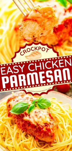 Crock Pot Chicken Parmesan is a quick and easy crockpot meal perfect for your crocktober fest! This slow cooker recipe starts with juicy chicken breasts seasoned with breadcrumbs and Parmesan. Pin this chicken idea! Best Crockpot Recipes, Slow Cooker Recipes, Beef Recipes, Soup Recipes, Vegetarian Recipes, Yummy Recipes, Easy Dinner Recipes, Fall Recipes, Fabulous Foods