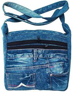 BDJ Upcycling Blue Denim Jean Messenger Crossbody Shoulder Handbag