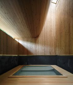 At Maruhon Inn, a 400 year old bath-house and hotel, you can melt away your stress by soaking in a great wooden bath, filled with aromatic water from the nearby Sawatari hot springs. Japanese Bath House, Japanese Bathroom, Japanese Sauna, Turkish Bath House, Gunma, Spa Design, House Design, Design Ideas, Sunken Bath
