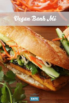 Crispy tofu is marinated in garlic, coriander root, and lemongrass, and stuffed into a Vietnamese-style sandwich with pickled carrots, daikon, cilantro, cucumber, and jalapeños. The trick is a low and slow cooking method and a double coating of the flavorful marinade.