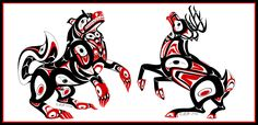 Haida wolf and deer