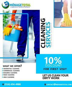 Cleaning Services Montreal company provides Commercial cleaning And Residential Cleaning In Montreal, Laval, Longueuil, South Shore And North Shore. Cleaning Service Flyer, Cleaning Flyers, Deep Cleaning Services, Cleaning Maid, Cleaning Companies, Cleaning Business, Cleaning Hacks, Personal Financial Management, Beautiful Words In English
