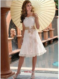 2012 Summer Sleeveless Sash-decorated Lace Short Wedding Dresses