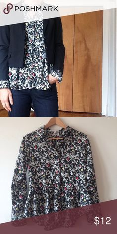 Peplum button down in fun pattern Peplum button-down shirt with fun black and white and floral pattern in excellent condition. Slight high-low effect. Bundle with the blazer for a discount! Collective Concepts Tops Button Down Shirts