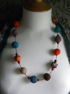 felt and fabric beaded necklace.