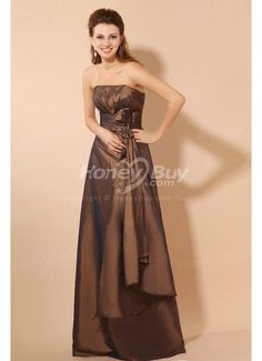 Taffeta Strapless Brown Long Custom Made Mother of the Bride Gown
