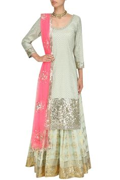 Mint green sequins embroidered kurta and skirt set available only at Pernia's Pop Up Shop.