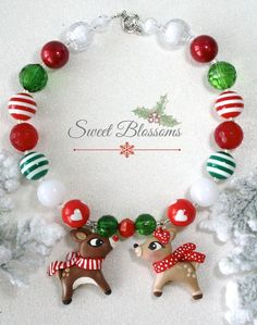 Items similar to Rudolph and Clarice necklace - chunky beads - Christmas necklace - sweet blossoms - photo prop - winter necklace - red and green beads on Etsy Chunky Bead Necklaces, Chunky Beads, Beaded Necklace, First Christmas, Christmas Time, Christmas Crafts, Christmas Ornaments, Clarice Reindeer, Sweet Blossom