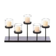 """by Gallery of Light Five candles, five platforms, five cups all add up to a dazzling display of style. This metal candle holder features a staggered design that will capture your interest. The slim design makes it the perfect addition to your dining table, mantel or sofa table. 13.5"""" x 3.88"""" x 7""""  www.allgooddecor.com/shop.html #allgooddecor #decorations #gifts #candles #toys #discount #furniture #candleholders #home #figurines #lighting #pictures #mirrors #jewelry #garden #clearance…"""