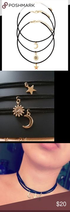 Celestial 3 pc. Chocker set 3 pendants on black suede rope these can be worn one at a time or layered together Jewelry Necklaces